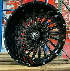 4 New Hardcore Hc17 76mm 24x14 Black Milled Wheels 8x6 5 Dodge Chevy Gmc 8x165