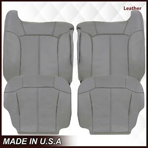 1999 2000 2001 2002 Gmc Sierra Leather Seat Covers In Light Pewter Gray 922