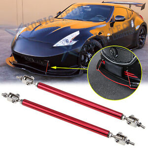 Sport Red Racing Bumper Lip Splitter Strut Rod Tie Support For Nissan 370z Gt R