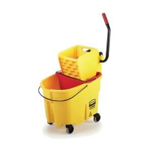 Rubbermaid Fg758088yel 35 Qt Yellow Wavebrake Mop Bucket And Wringer Combo