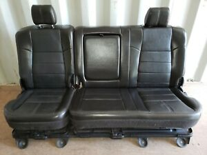 Black Leather Ford F250 King Ranch Crew Cab Rear Bench Seat 2009 2008 2010 Mint