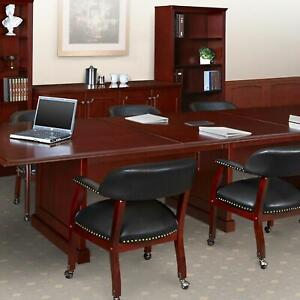 Traditional Conference Room Table Chairs Set Meeting Table Set Mahogany Wood