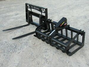 48 Root Grapple Bucket And 42 Long Pallet Forks Attachment Combo Quick Attach