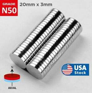 20mm X 3mm Super Strong N50 Round Disc Neodymium Mini Fridge Magnets Rare Earth