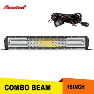16inch 216w Led Light Bar Flood Spot Combo For Offroad Suv Atv Free Wiring Kit