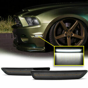 Smoked Lens Front Side Marker Lights Lamps White Led For 2010 2014 Ford Mustang