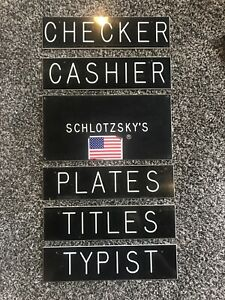 Vintage Office Signs Lot Of 7 Cashier Typist Schlotzskys Business Signs