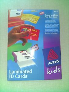 Avery Kids Laminated Id Cards Design print Your Own Cards 5 Sheets 15 Cards 3613