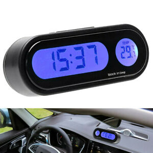 Car Digital Lcd Electronic Time Clock Thermometer Watch Withbacklight Accessories Fits Volvo
