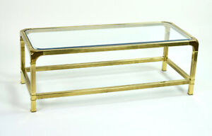 Mastercraft Vintage Mid Century Modern Brass Coffee Cocktail Table Glass Top