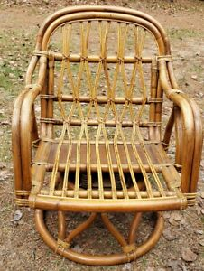 Vintage Calif Asia Hand Crafted Phillipines Bamboo Rattan Swivel Rocking Chair