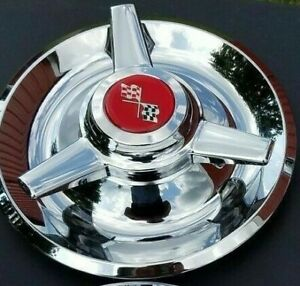 1 Chrome Plated Stainless Steel Red Chevy Rally Wheel Center Cap Tri Bar Cap