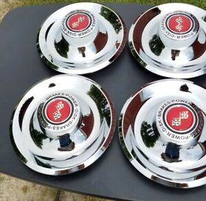 4 Chrome Plated Stainless Steel Red Chevy Rally Wheel Center Caps Cap