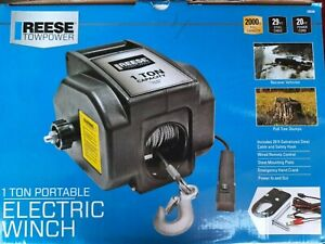 Portable Electric Winch Reese Towpower Boat Atv Truck Trailer 2000 Lbs Capacity