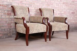 Barbara Barry For Baker Furniture Modern Upholstered Lounge Chairs Pair
