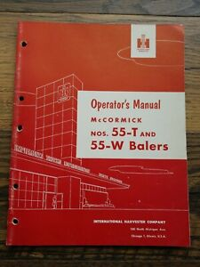 Ih International Harvester Mccormick No 55 t 55 w Balers Owners Manual 1954