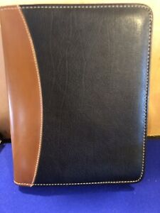 Franklin Covey Quest Black Brown Top Grain Leather Classic Planner 7 ring