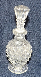 Antique Vintage Pressed Diamond Crystal Glass Perfume Bottle With Stopper Heavy