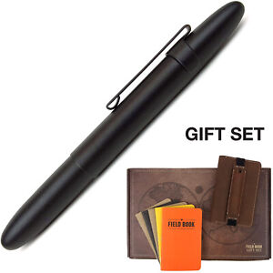 Fisher Bullet Space Pen Set With Stitched Leather Journal Notebook Cover