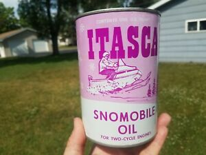 Vintage Extremely Nice Itasca 2 Cycle Snowmobile Oil Full Metal 1 Quart Can #1