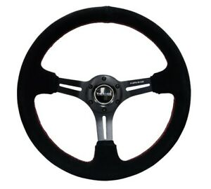 Nrg 350mm Sport Steering Wheel Suede 3 Deep Black Leather With Red Stitch