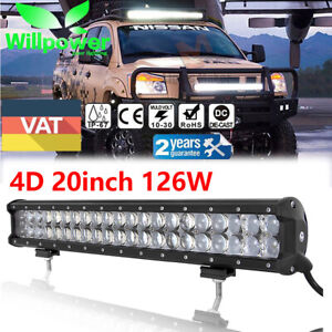 4d 126w 20inch Cree Led Work Light Bar For Car Suv Atv Off Road Truck 4wd Jeep