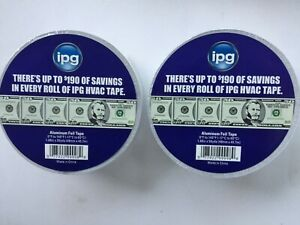 Two Rolls Ipg Aluminum Hvac Foil Tape 1 88 X 50 Yd New W Free Shipping