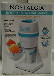 Nostalgia Electric Snow Cone Shaved Ice Maker Stainless Steel Blade New