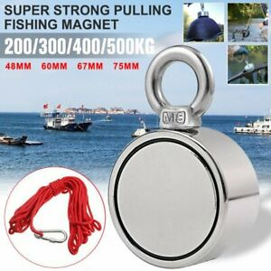 1100lb Double Sided Fishing Magnet Kit Strong Neodymium Pulling Force With Rope