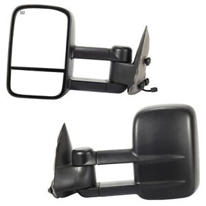 Pair Power Heated Towing Mirrors For 99 02 Silverado Sierra Pickup W 15cm Wire