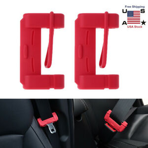 2pc Red Car Seat Belt Buckle Clip Silicone Anti scratch Cover Safety Accessories