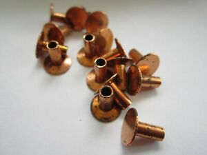 25 Vintage Coppered 5 16 X 1 8 Semi Hollow Tubular Rivets 3 8 Head