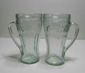 Green Coca Cola Mugs With Handles - Set Of 2 Coke Glasses.