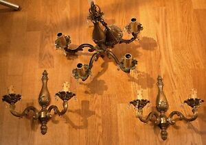 Lot Of Antique French Bronze 5 Arm Chandelier Two Matching Bronze Light Sconce
