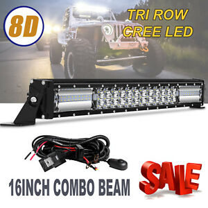 16 Inch Cree Led Work Light Bar Flood Spot Combo Offroad Driving Lamp Wiring