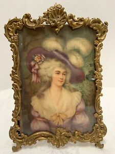 Ornate French Photo Frame Embossed Brass Shell Scroll 7 5x5 Antique Picture
