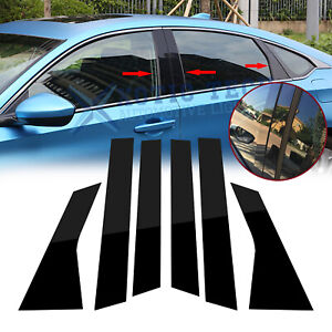 Glossy Black Pre Cut Door Window Pillar Posts Cover Trims For Honda Accord 18 19