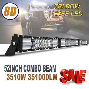52 Inch Cree Led Work Light Bar 3510w Flood Spot Combo Offroad Driving Lamp 54
