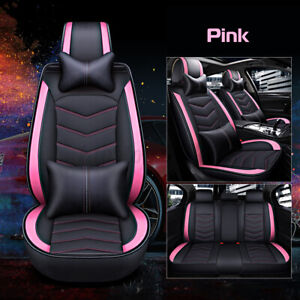 Pink Universal 5 seats Car Seat Cover Suv Front rear Pu Leather Cushion Mat Set