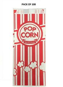 100 Red White Popcorn Bags 1 Oz Carnival King 3 1 2 X 2 1 4 X 8 1 4 New