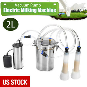 2l Portable Vacuum Pump Electric Milking Machine Fits For Farm Cow Sheep Goat Us