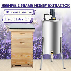 30 Frames Bee Hive Kits Foundations Frames Cover And 2 Frame Honey Extractor
