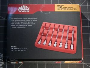 Mac Tools 7pc 3 8 Dr Long Hex Ball End Socket Driver Set Sxalb7pt 1 Used