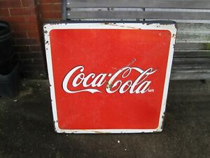 Vintage Sign Coca Cola Coke Porcelain Enamel Metal Table Top Sign