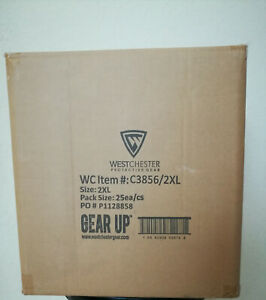 Case Of 25 Westchester Protective Safety Coveralls With Hood Size 2xl