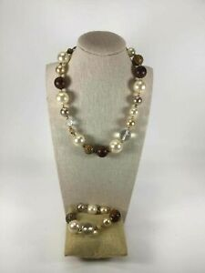 Cookie Lee Set Of 2 Yellow Goldtone Faux Pearl Crystal Beaded Bracelet Necklace $7.99