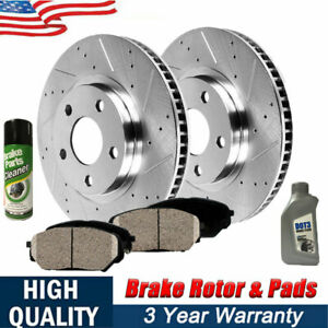 For 2006 2012 Fits Ford Mustang Rear Eline Drilled Brake Rotors ceramic Pads