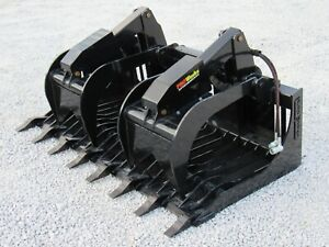 66 Severe Duty Rock Grapple Bucket With Teeth Skid Steer Loader Attachment