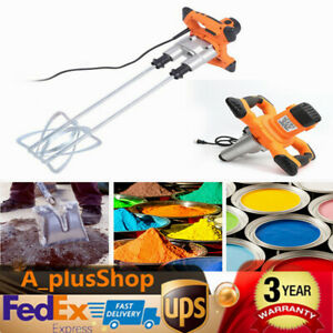 Electric Mortar Mixer Handheld Paint Cement Grout Mixer Twin Paddle 1600w