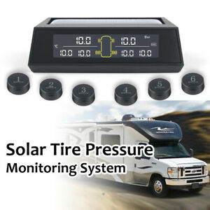 Wireless Lcd Tpms Tire Pressure Monitor System W 6 Sensor For Trailer Rv Ma2377